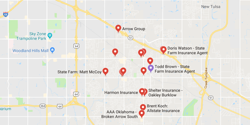 Cheap Car Insurance Broken Arrow Oklahoma - Best Rate Quotes on river's edge cottages watson ok, map of watson st, map of roland oklahoma,