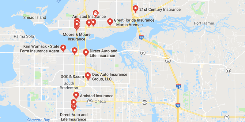 Cheap Car Insurance Palmetto Florida - Best Rate Quotes on belleair beach fl map, florida watercolor map, east point fl map, laurel fl map, st marks fl map, cypress lake fl map, lake city fl map, lake lorraine fl map, useppa island fl map, withlacoochee river fl map, east manatee fl map, downtown sarasota fl map, eustis fl map, oneco florida map, decatur fl map, st. petersburg beach fl map, flagami fl map, palm shores fl map, gasparilla fl map, deleon springs fl map,