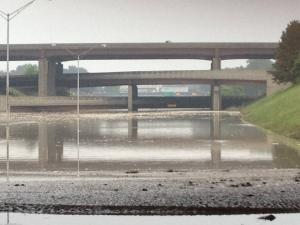 This is the area of I-75 and I-696, which as of Tuesday morning was under 14' of water.  Courtesy: MDOT.